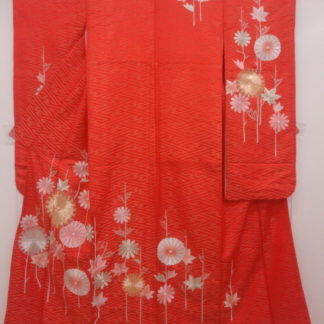 Beautiful vintage bright orange chirimen silk furisode kimono w/ a large woven sayagata pattern and embroidered gold, pink and silver kiku (chrysanthemums)