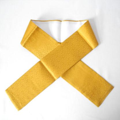 golden yellow silk woven sayagata Kasane-eri