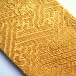 Rich mustard yellow silk Kasane-eri w/ woven sayagata and flowers