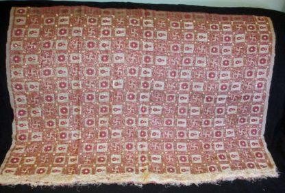 dusty rose vintage silk organza pallu wiht swastika, kalash, flower weave and heavy beading and fringe edge.