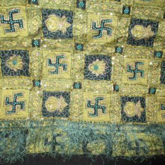 vintage greenish black silk organza pallu woven swastika and kalash, beading chain work and sequins with fringe