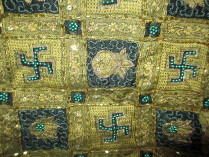 vintage greenish black silk organza pallu woven swastika and kalash, beading chain work and sequins with fringe