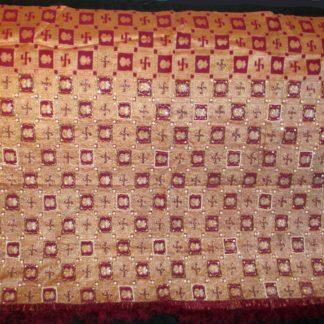 vintage sari pallu silk, woven swastikas, kalash, orangeish burgundy red & golden yellow... gold thread, gold glass & pearl beading, sequins. fringe