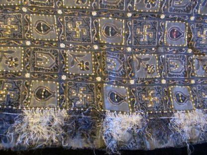 black grey vintage silk pallu swastika flower house kalash beading pearls chain work