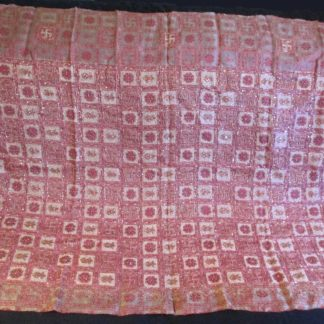 vintage silk organza rose pink pallu w/ swastika kalash and flower weave, beading chain stitching and sequins