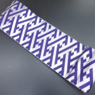 Synthetic silver purple sayagata hanhaba obi