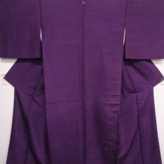 Antique purple tsumugi silk one mon kimono