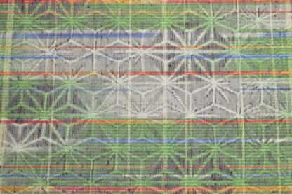 Antique green rainbow woven asanoha wool fabric